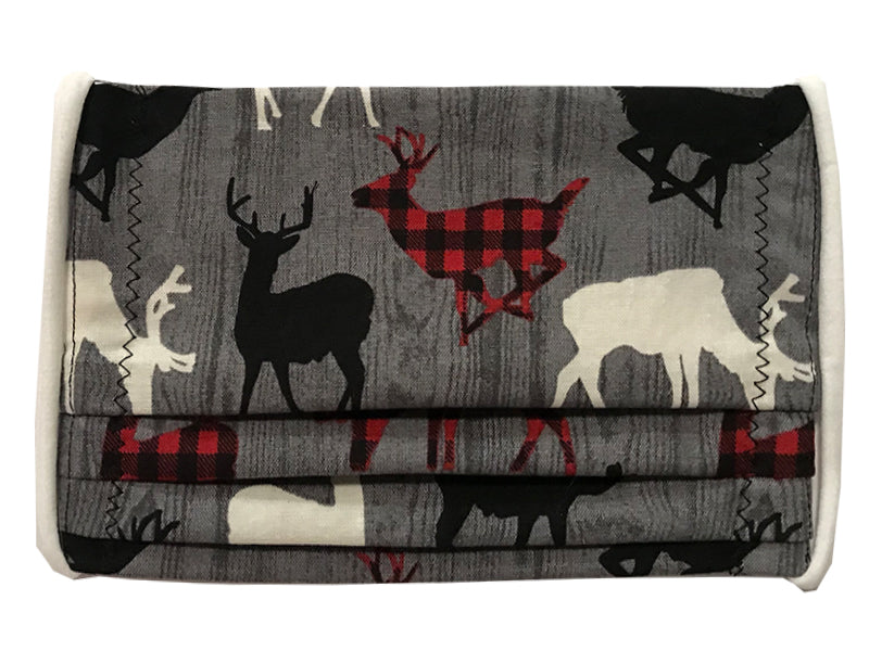 Reindeer/Plaid Pleated Face Mask