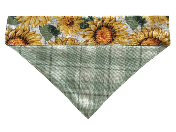 Green Plaid Sunflowers - Reversible