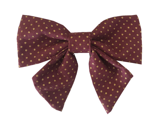 Maroon and Gold Polka Dots Sailor Bow