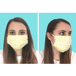 Lobster/Light Blue Plaid Pleated Face Mask