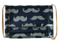 Load image into Gallery viewer, Mustaches/Navy Pleated Face Mask