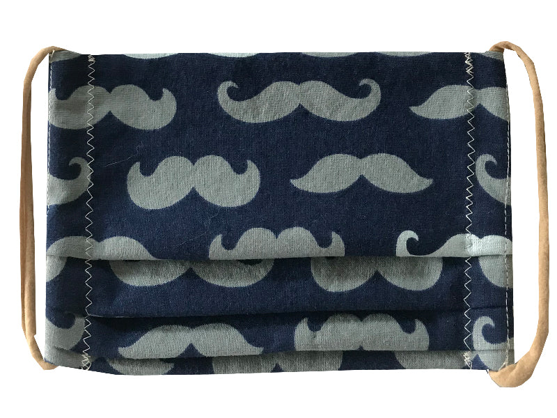 Mustaches/Navy Pleated Face Mask