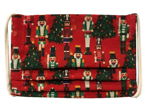 Nutcracker/Red Plaid Pleated Face Mask