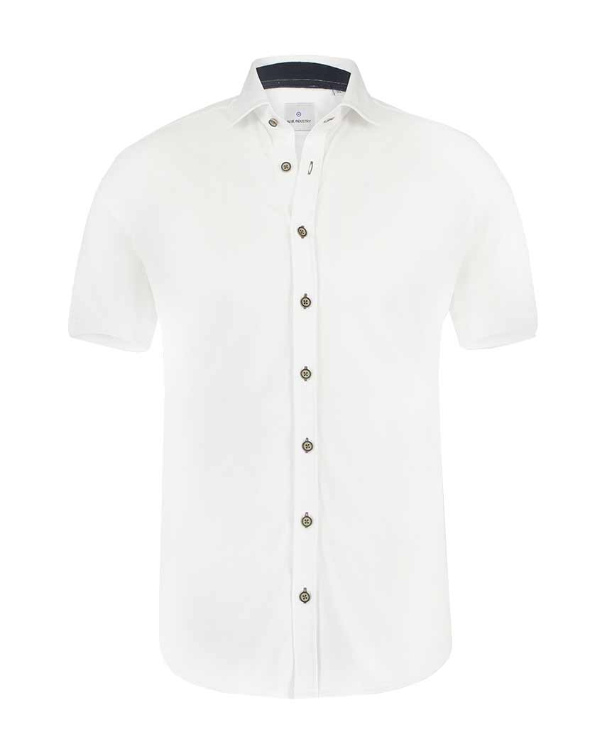 White Pique Short Sleeve Buttondown Shirt