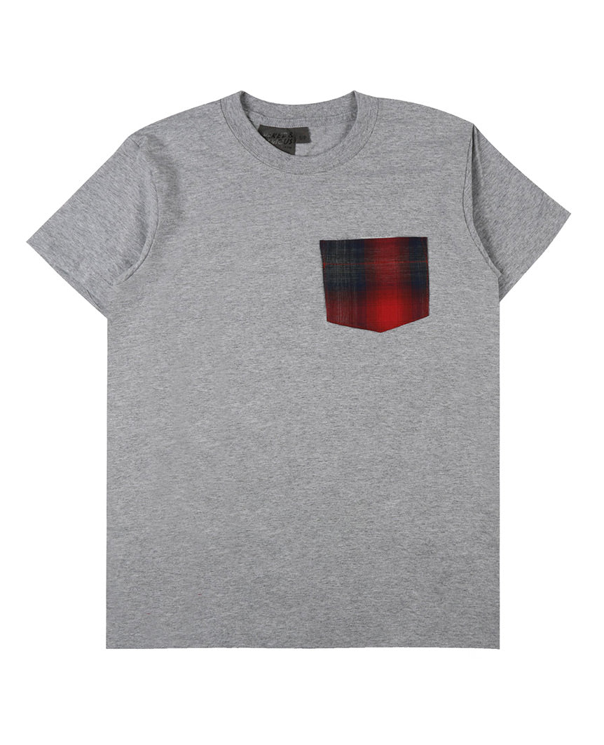Pocket Tee Heather Grey Red Flannel