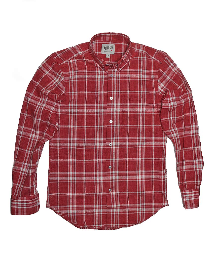 Faded Hemp Blend Regular Shirt Red