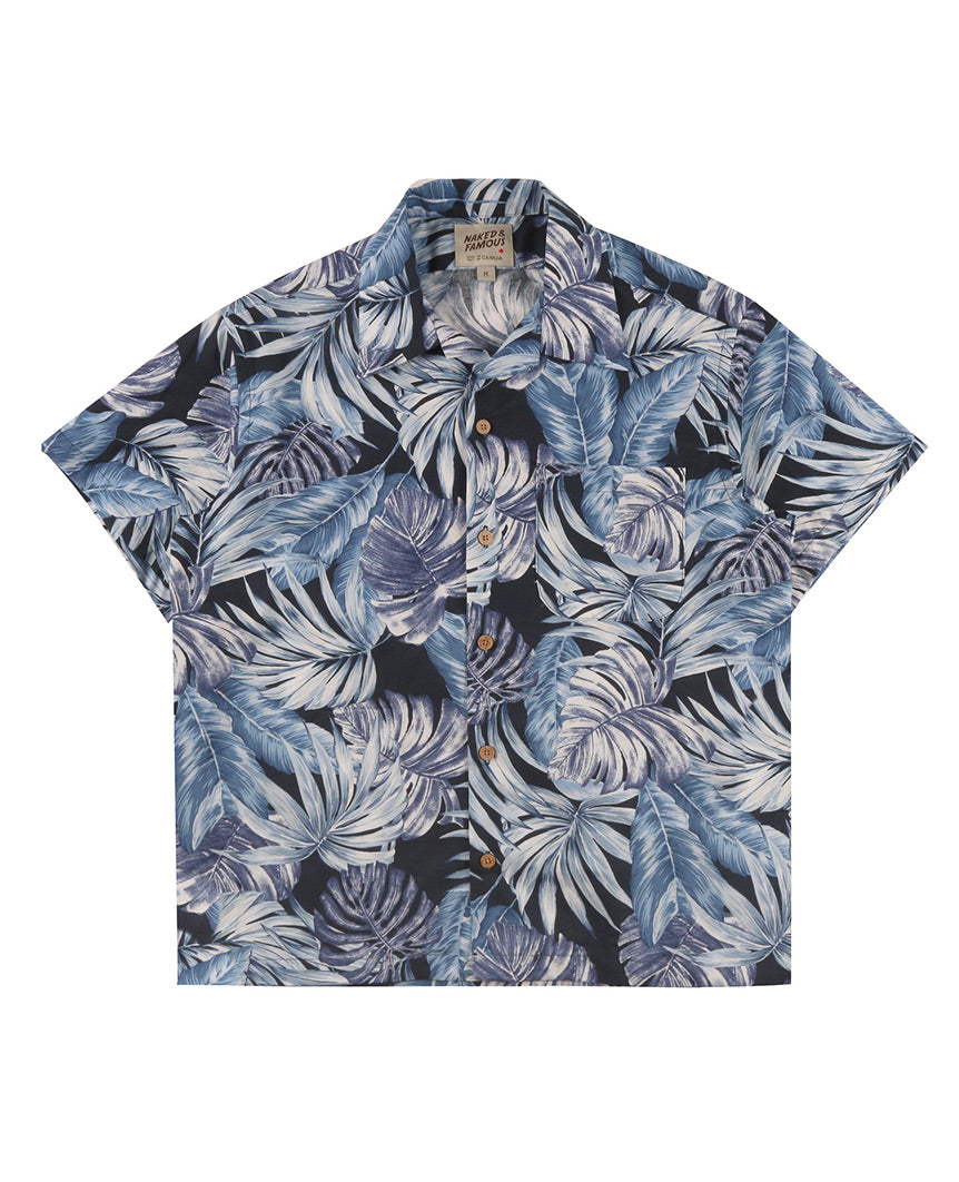 Tropical Leaves Aloha Shirt  Navy