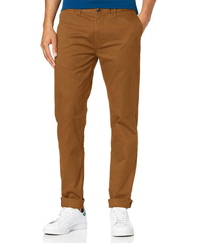 Stuart Stretch Cotton Chinos Regular Slim Fit Braun Walnut