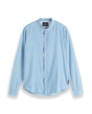 Collarless Shirt Regular fit Light Indigo