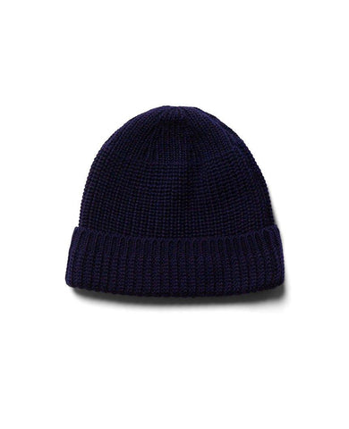 Machine Knit Watch Cap Navy