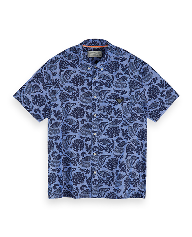 All-Over Printed Linen Hawaii Fit Shirt Blue