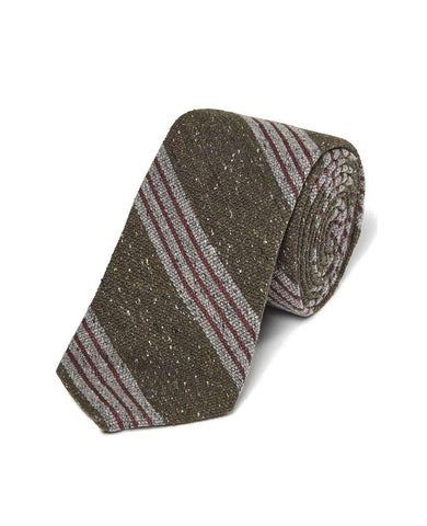 Olive Wool Blend Donegal Stripe Tie