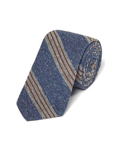 Blue Wool Blend Donegal Stripe Tie