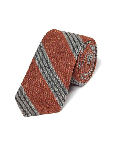 Orange Wool Blend Donegal Stripe Tie