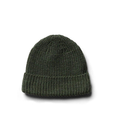 Machine Knit Watch Cap Olive