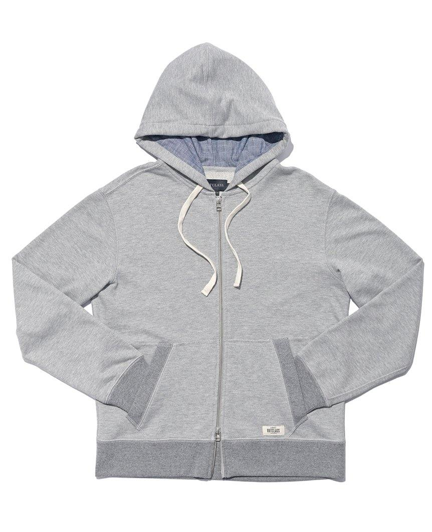 French Terry Zip-up Hoody Heather Grey
