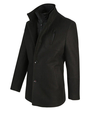 Black Wool Cotton Jack Coat