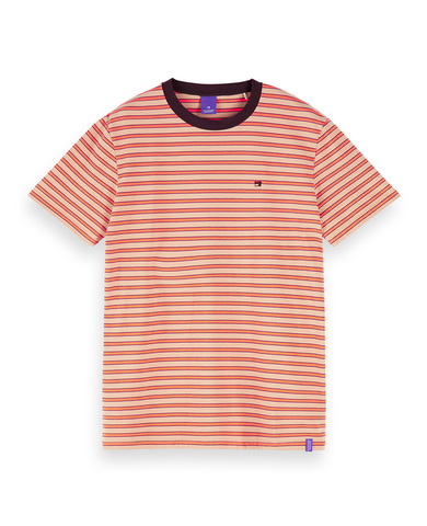 Cotton-Linen T-Shirt Orange Stripe