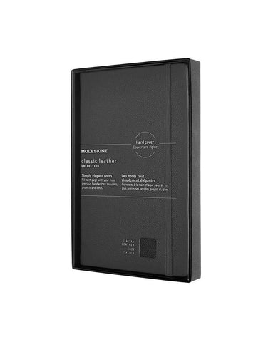 Classic Leather Hard Cover Ruled Notebook Black