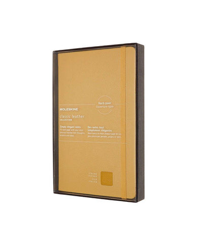 Classic Leather Hard Cover Ruled Notebook Amber Yellow