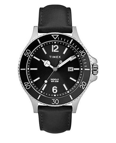 Harborside Classic Black Leather Strap Watch