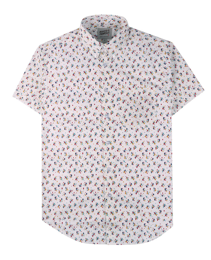 Vintage Mod Print Short Sleeve Easy  White