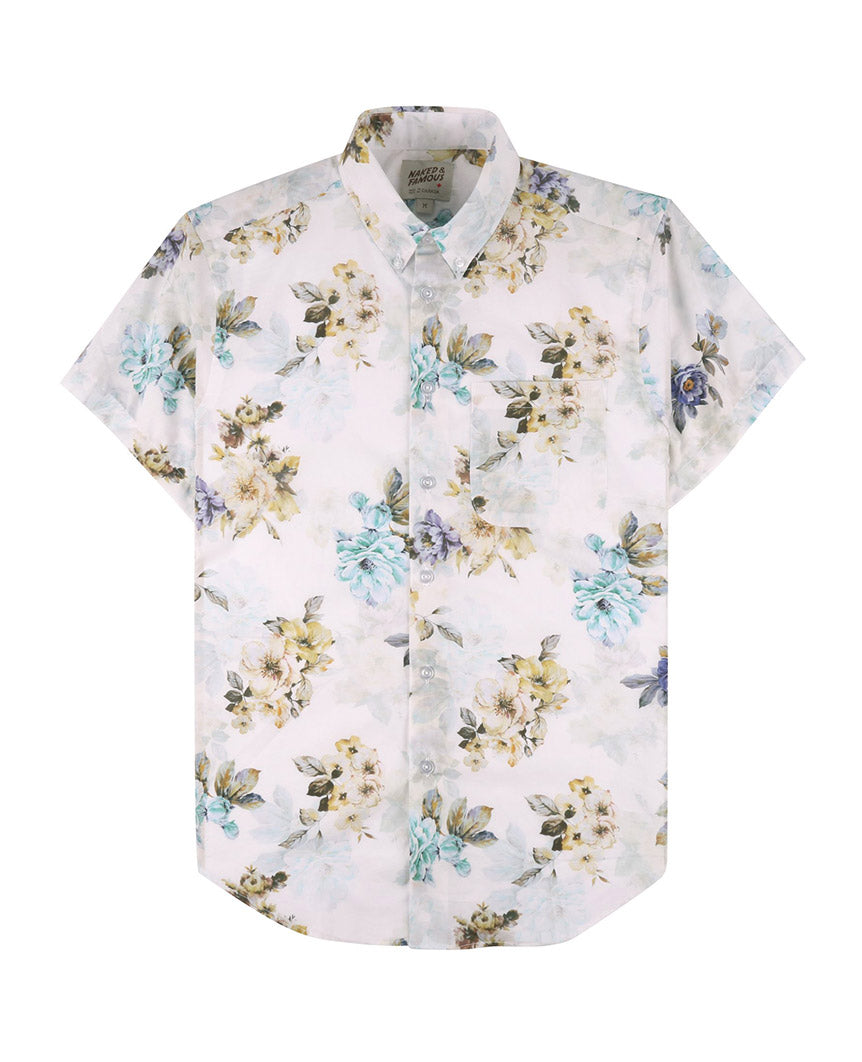 Flower Painting Short Sleeve Easy Shirt White