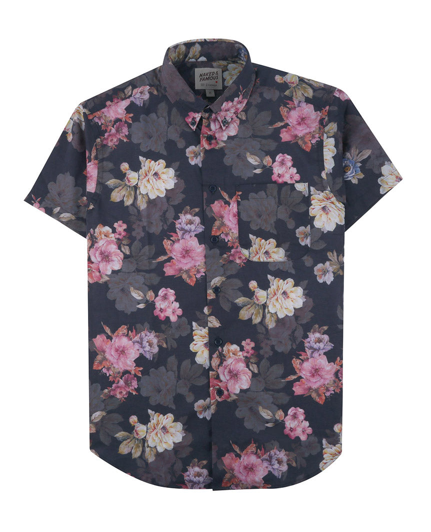 Flower Painting Short Sleeve Easy Shirt  Navy