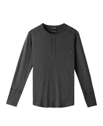 1x1 Slub Long Sleeve Henley Heather Charcoal