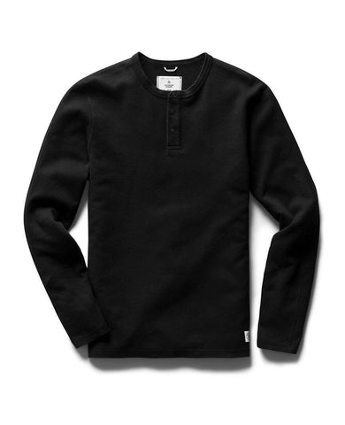 Henley Long Sleeve Mesh Flatback Black