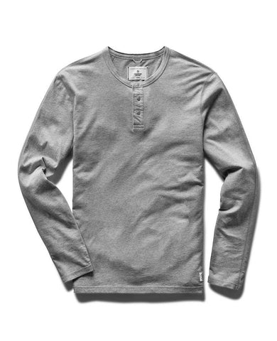 Long Sleeve Henley Ringspun Jersey Heather Grey
