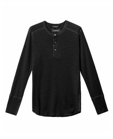 1x1 Slub Long Sleeve Henley Black