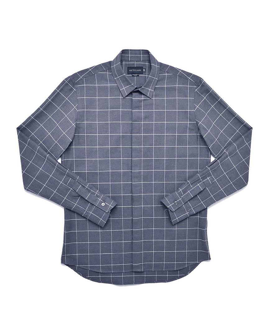 Blue Windowpane Dress Shirt