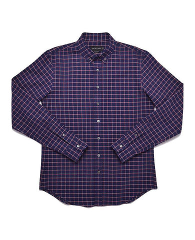 Navy Tattersall Plaid Flannel Shirt