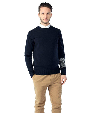 Jensing Fairisle Sleeve Crew Sweater Navy