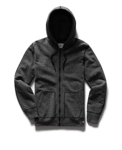 Full Zip Hoodie Midweight Terry Heather Black