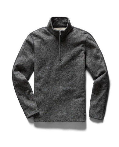 Half Zip Pullover Midweight Terry Marled Black