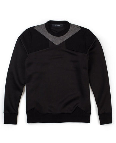 Paneled Neck Sweater Black