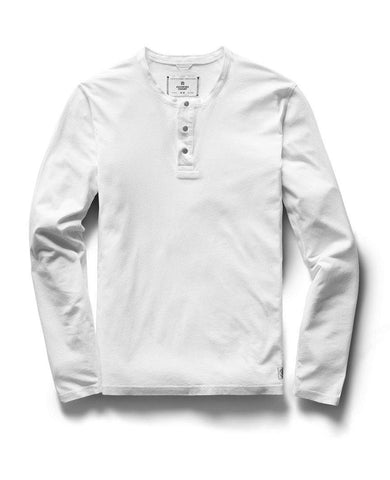 Long Sleeve Henley Ringspun Jersey White