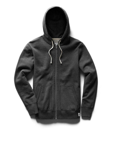 Full Zip Hoodie Midweight Terry Heather Charcoal