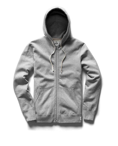 Full Zip Hoodie Midweight Terry Heather Grey