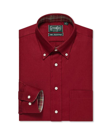 Button Down Crimson Solid Hopsack