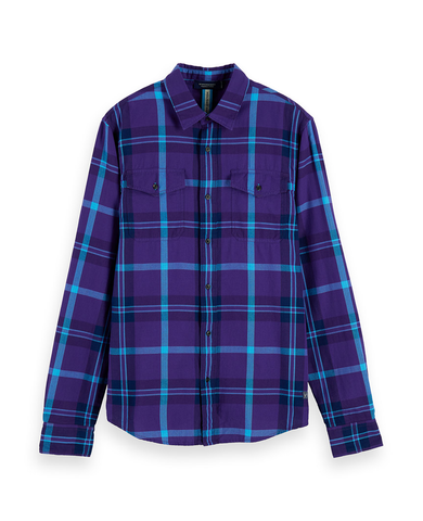 Herringbone plaid shirt Regular fit Purple Blue