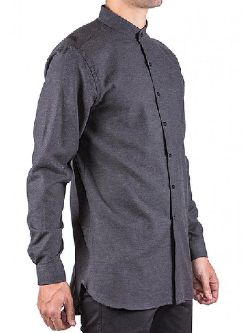 Brushed Twill Long Sleeve Buttondown Shirt Charcoal