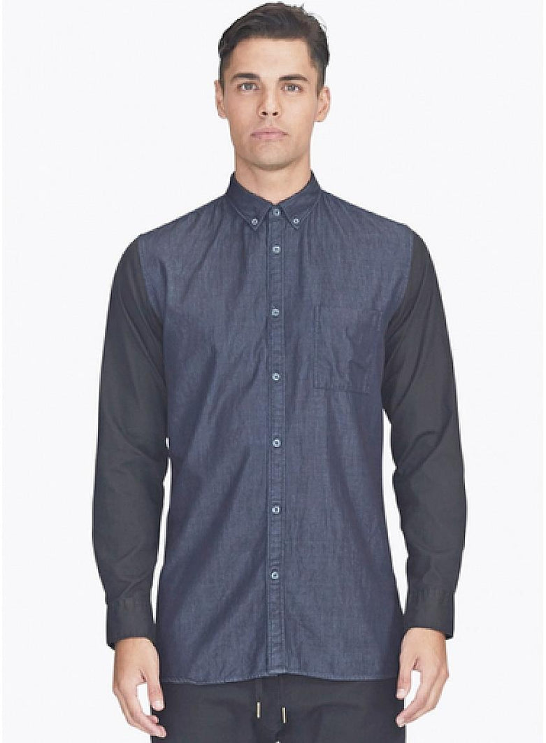 Seven Foot Long Sleeve Buttondown Shirt Indigo