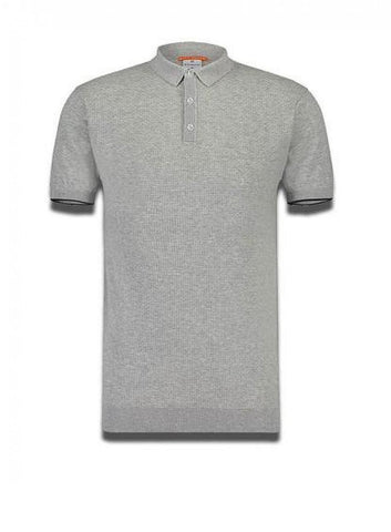 Luxe Knit Polo Sleeve Tipping Grey