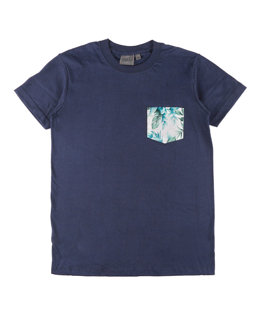 Pocket Tee Big Tropical - Navy / White