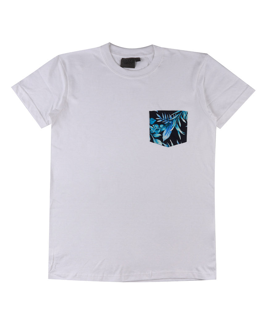 Pocket Tee Big Tropical - White / Navy