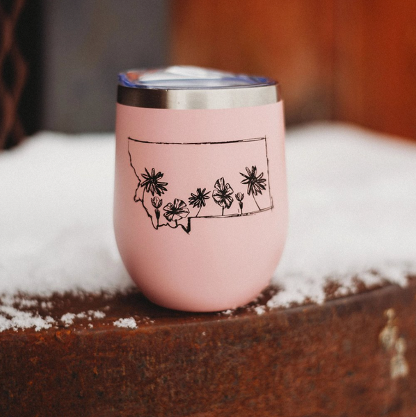 Montana Wildflower Stainless Steel Tumbler - Pink