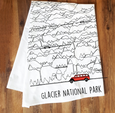 Jammer and Mountains Tea Towel (Glacier National Park)